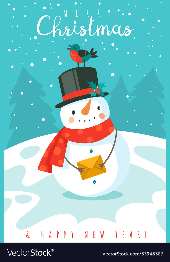 Snowman happy new year and merry christmas