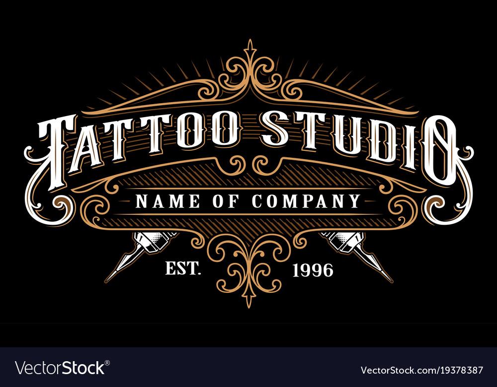 Vintage tattoo studio emblem 2 for dark background