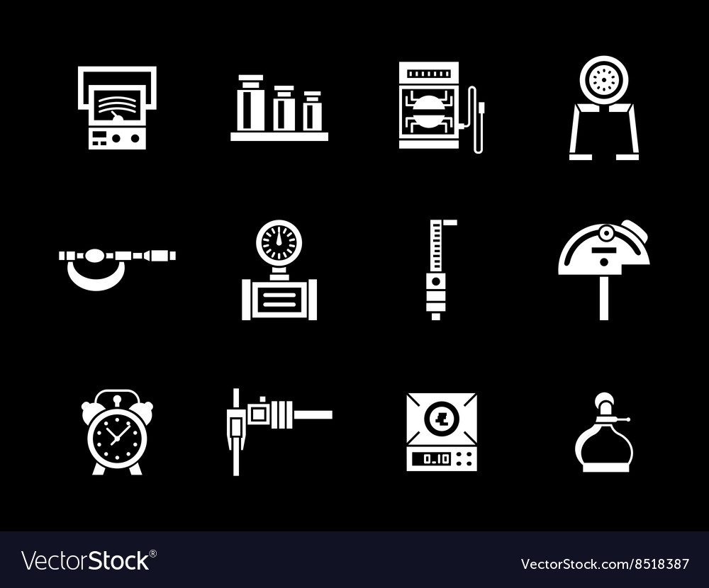 White glyph measurement equipment icons set vector image