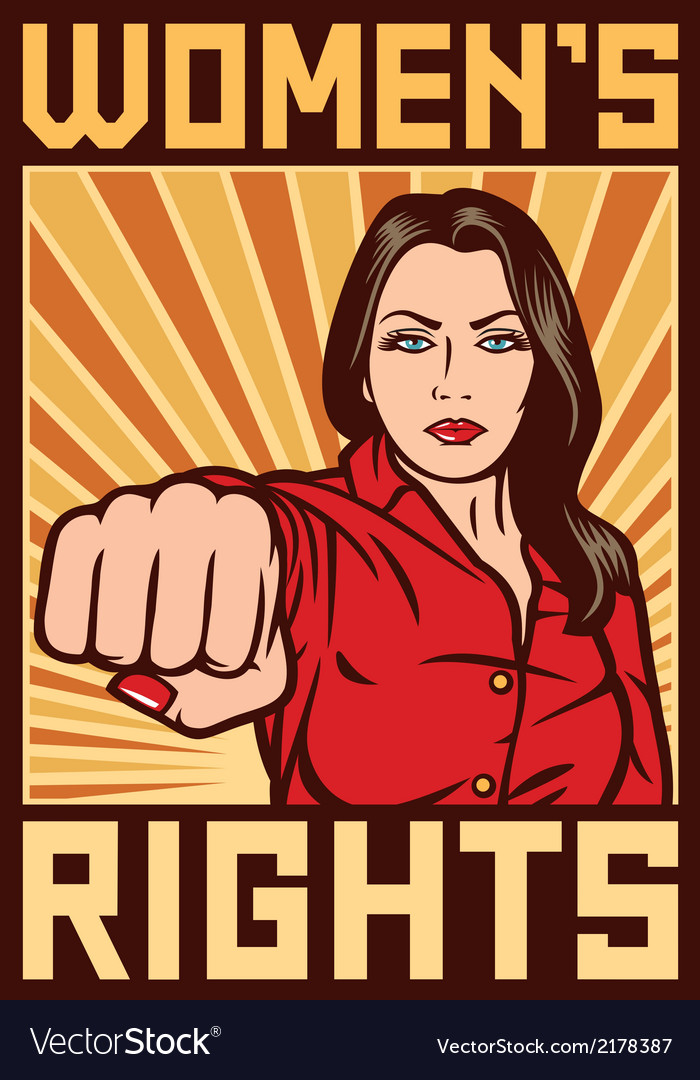 Women rights poster - pop art woman punching vector image