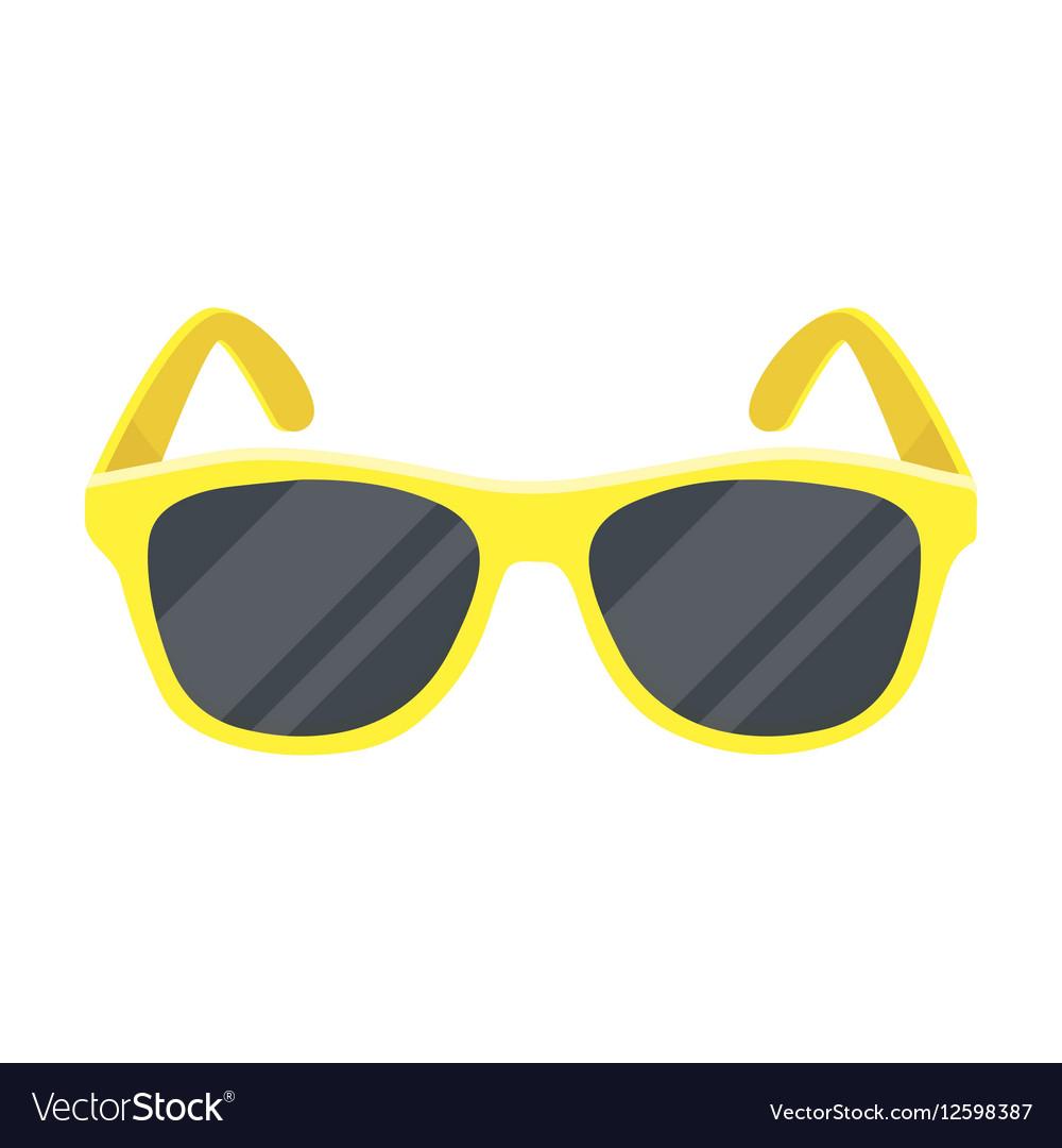 yellow trendy sunglasses icon in cartoon style vector image  vectorstock