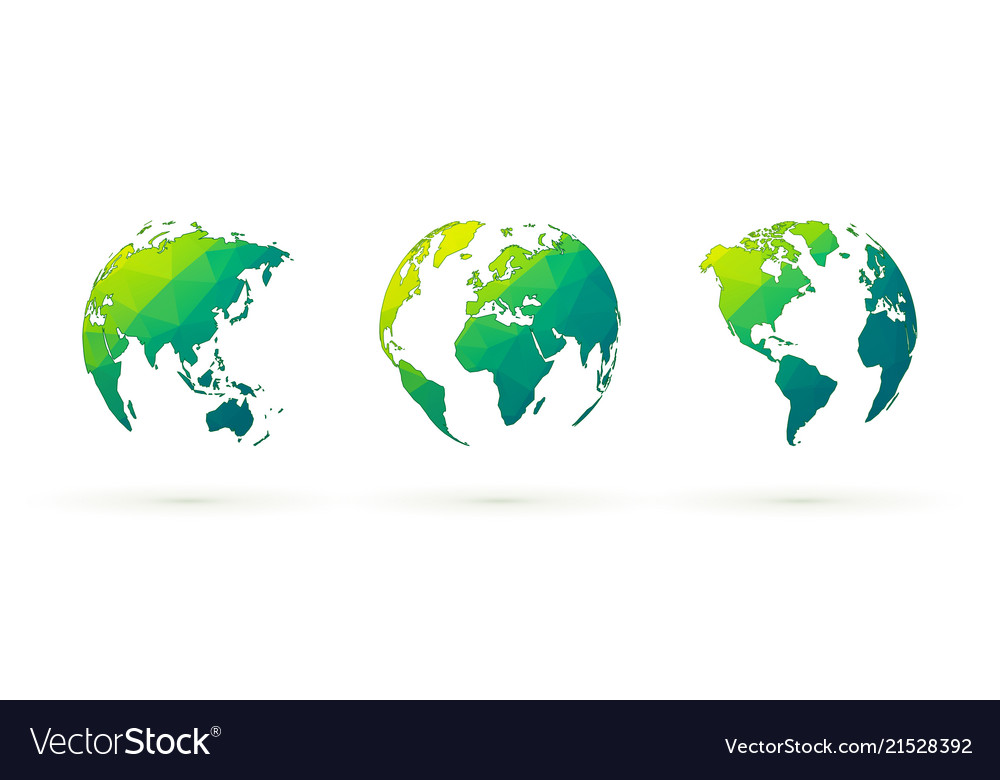 Abstract green globes set world planet earth with