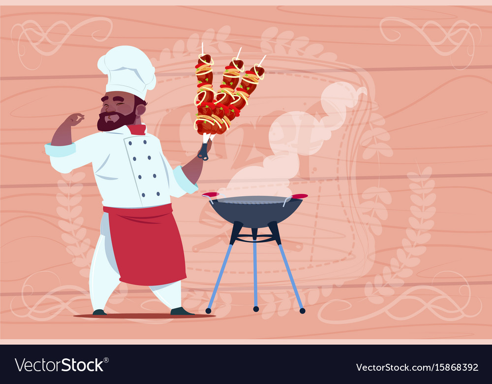 African american chef cook hold kebab smiling