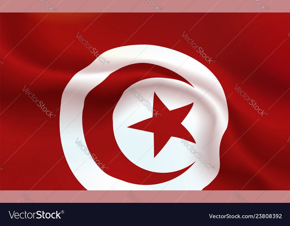 Background tunisian flag in folds republic of