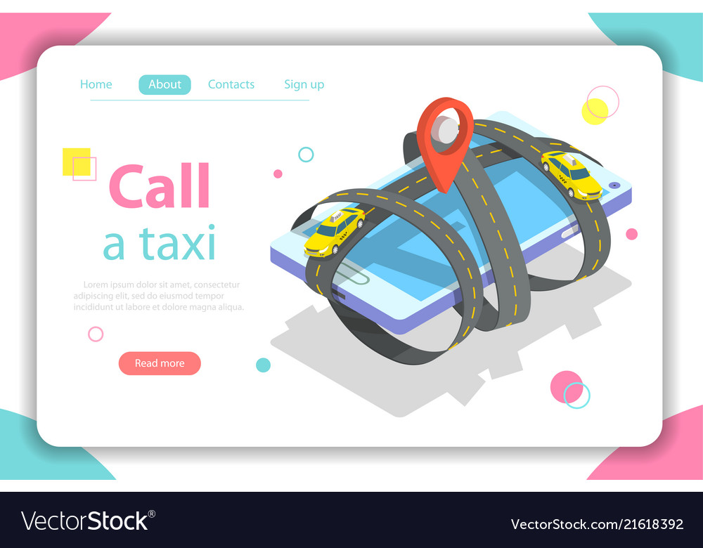 Call a taxi flat isometric concept