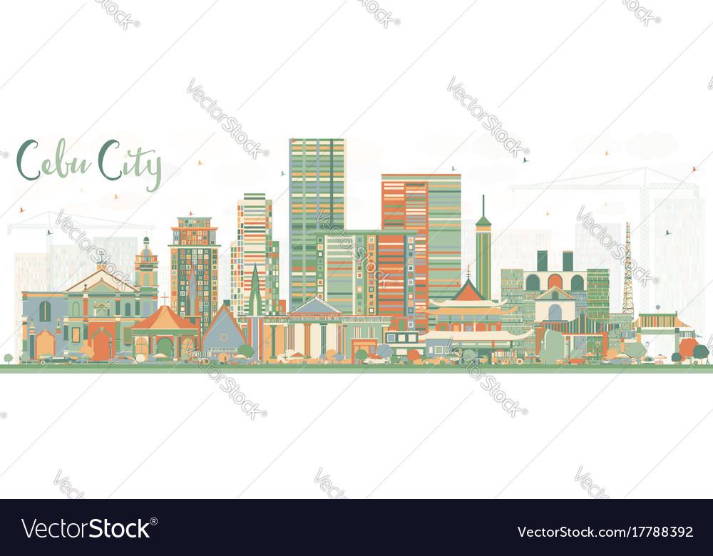 Cebu city philippines skyline with color buildings