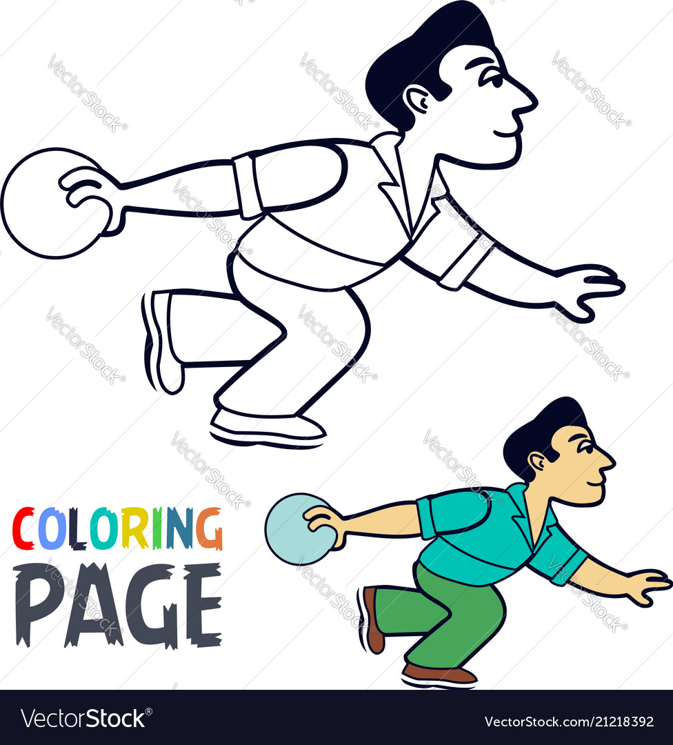 Coloring page with bowling player cartoon