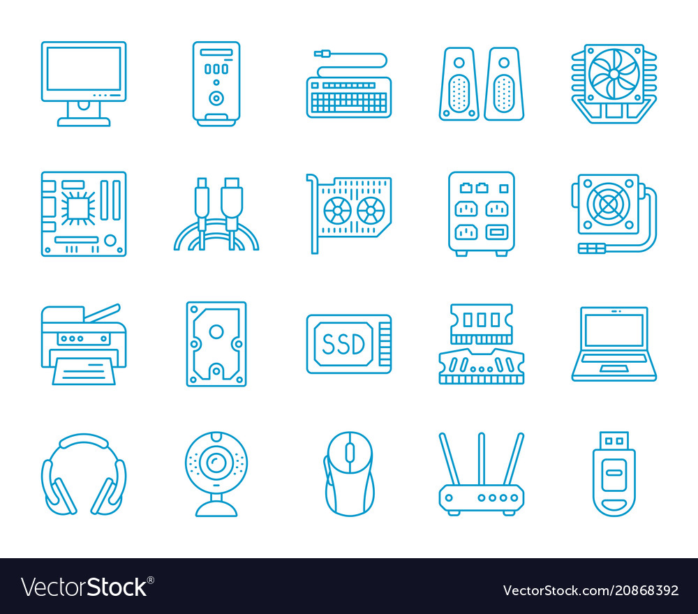 Computer simple color line icons set
