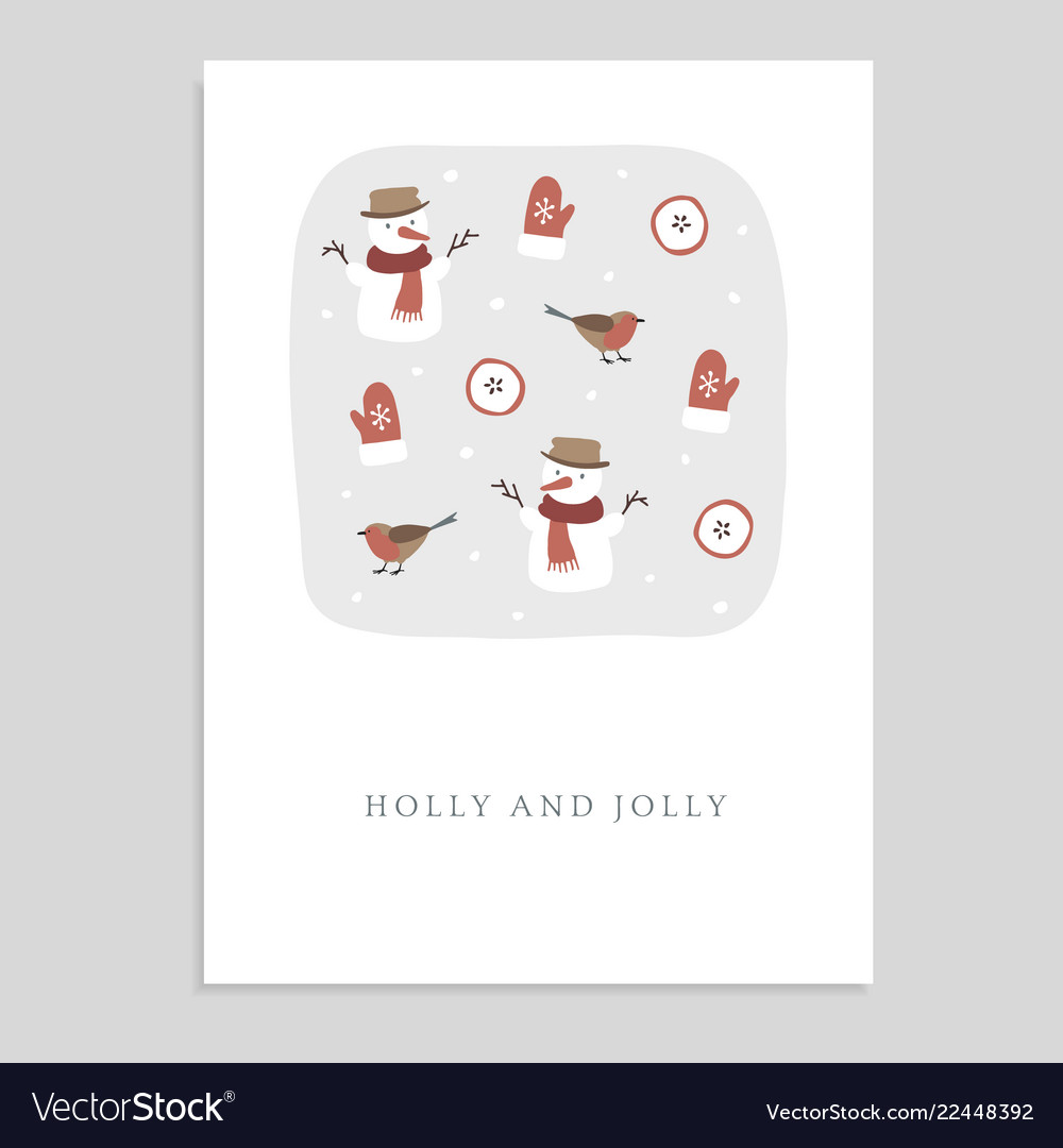 Cute holly and jolly christmas greeting card