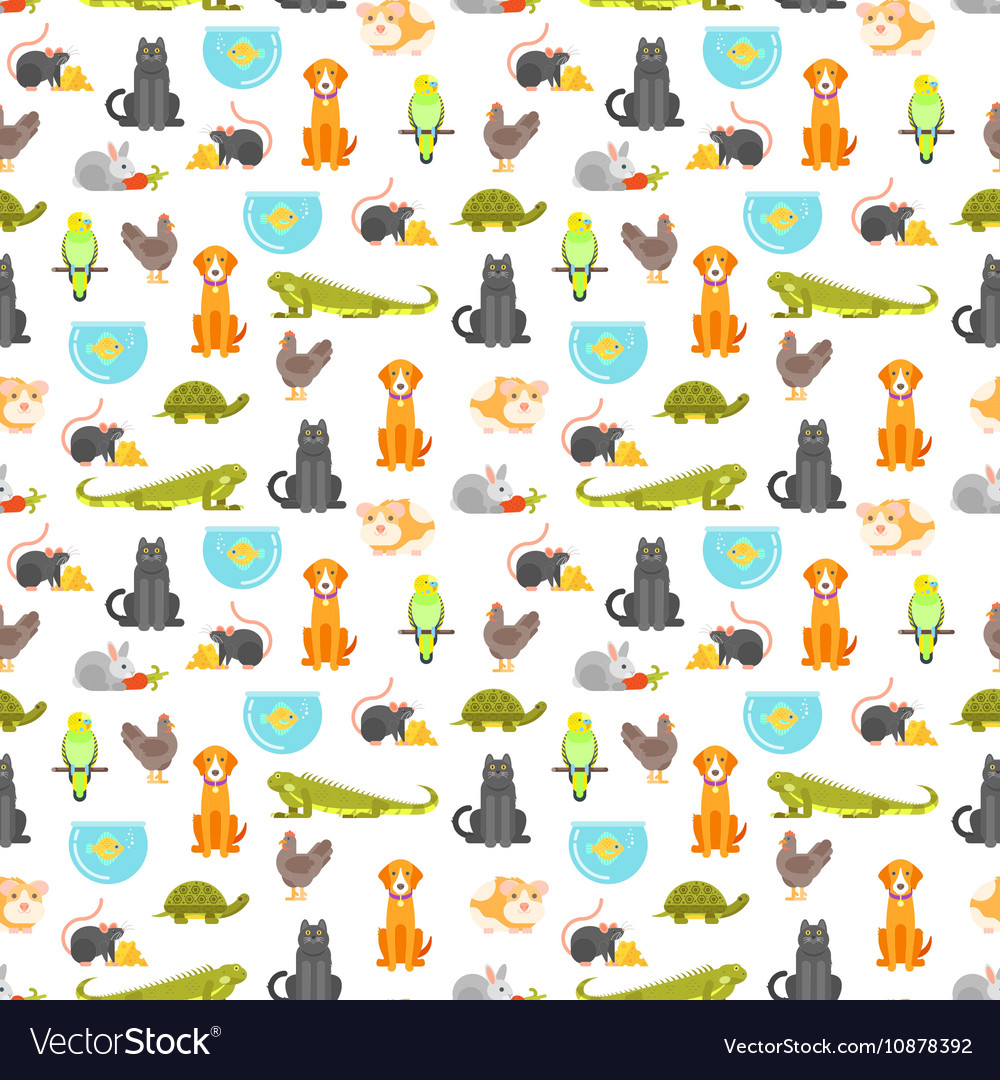 Flat style colorful seamless pattern with home pet
