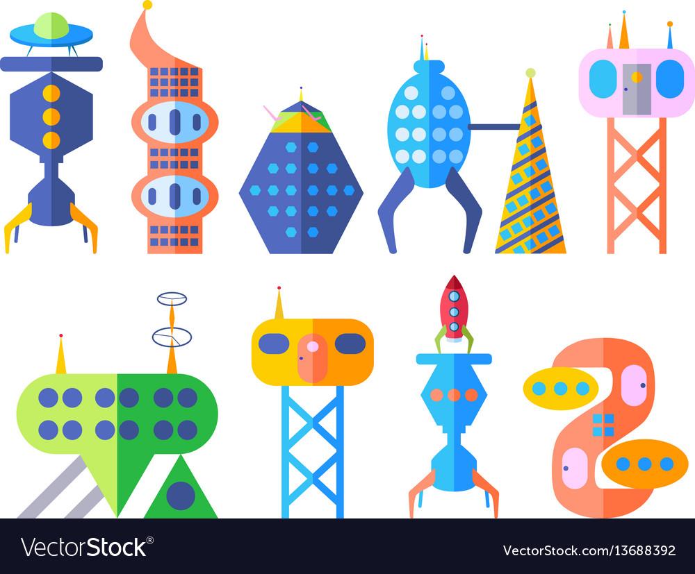 Future fantastic modern city set in cartoon style vector image