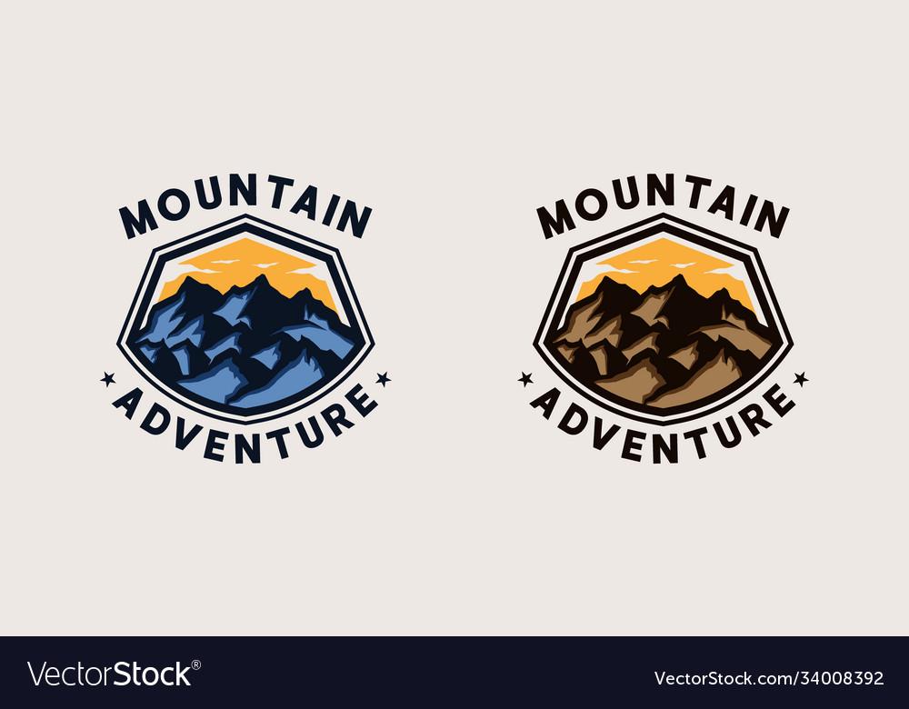 Mountain adventure emblem logo template