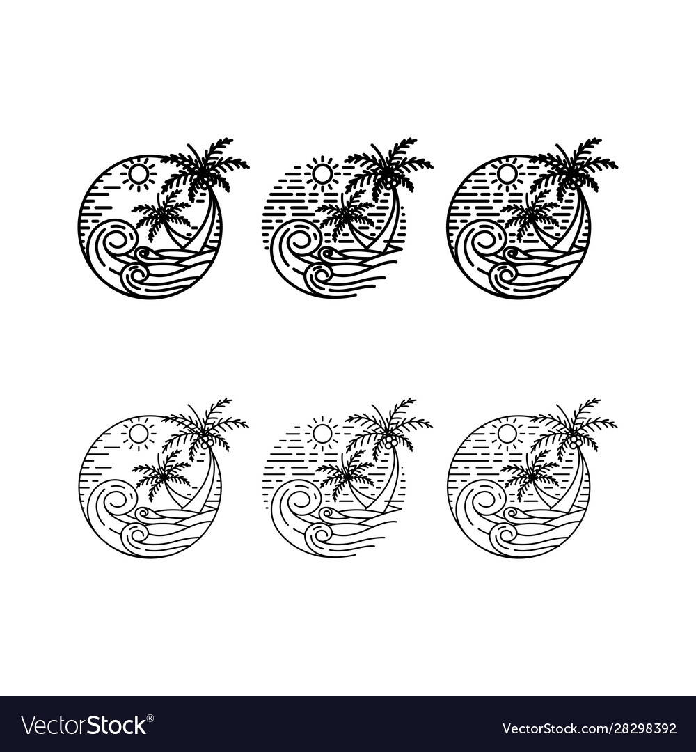Palm Beach Line Art Logo Design Set