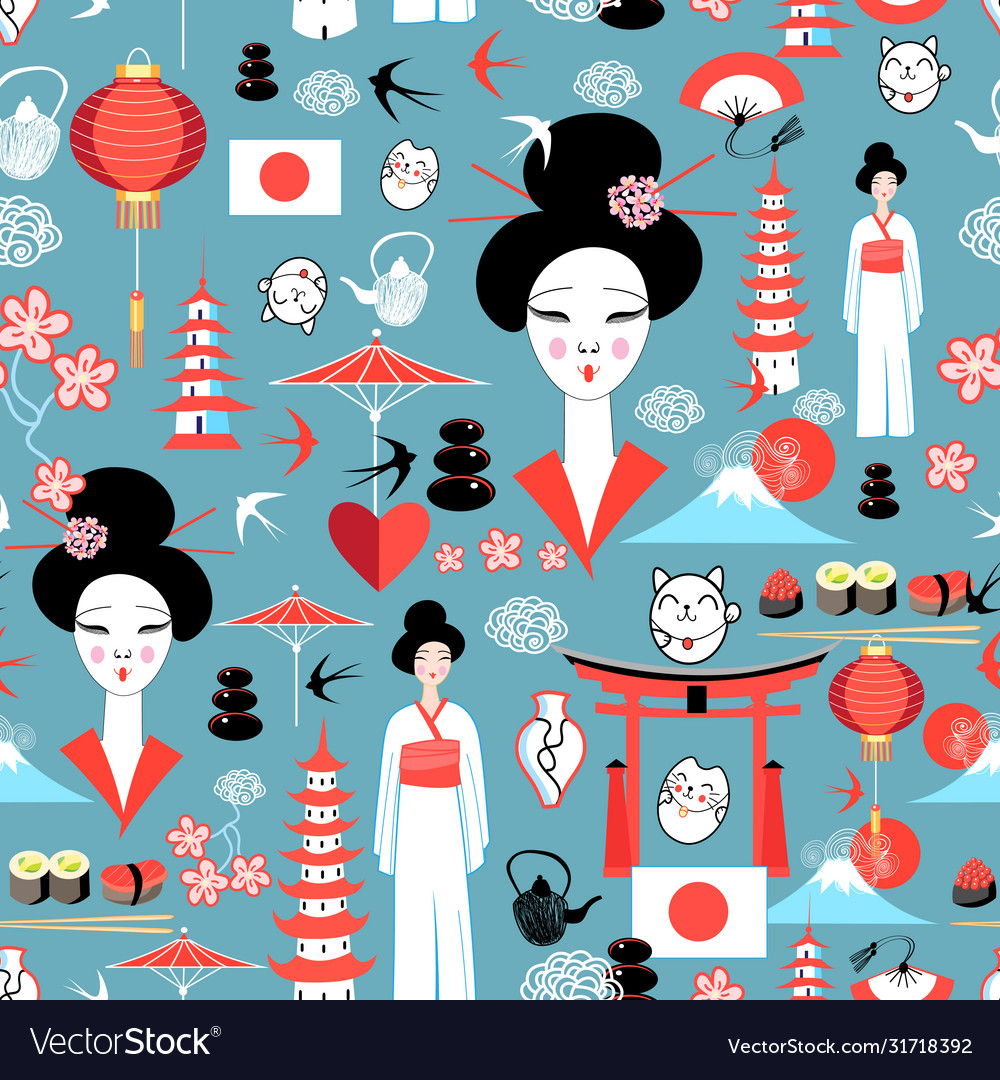 Pattern with various elements japanese
