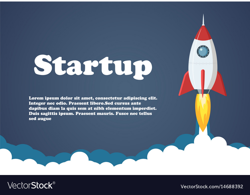 Rocket launch business or project vector image
