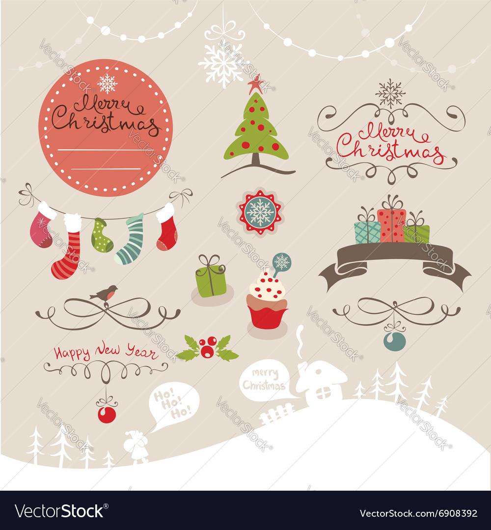 Set funny design elements for Christmas