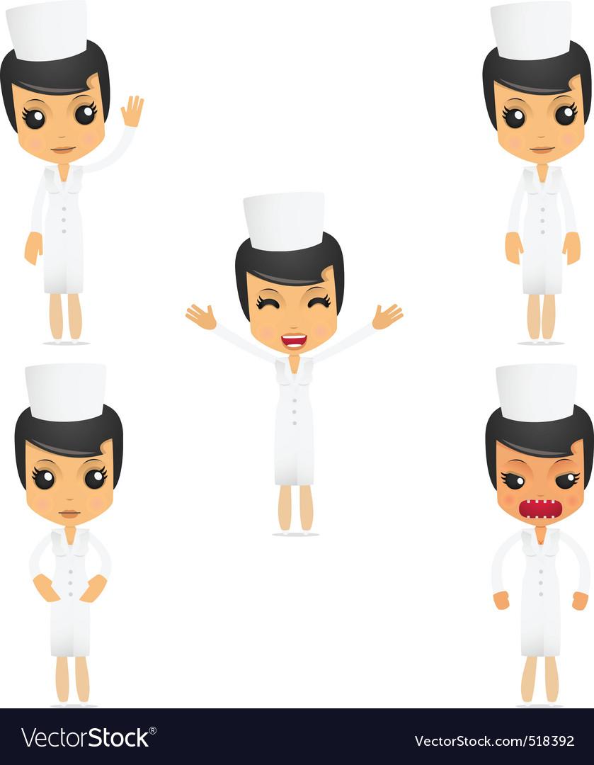 Set of funny cartoon nurse vector image
