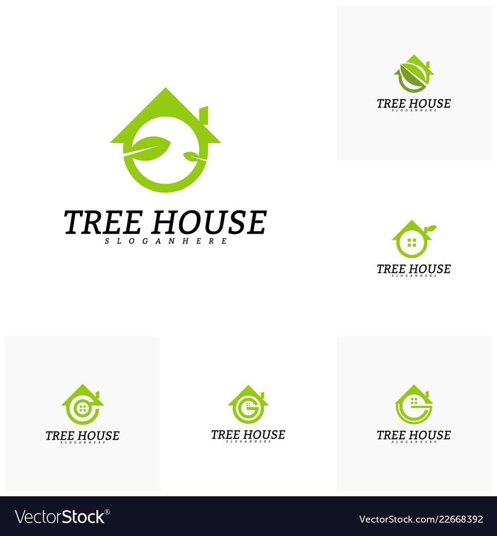 Set of tree house logo template leaf house logo