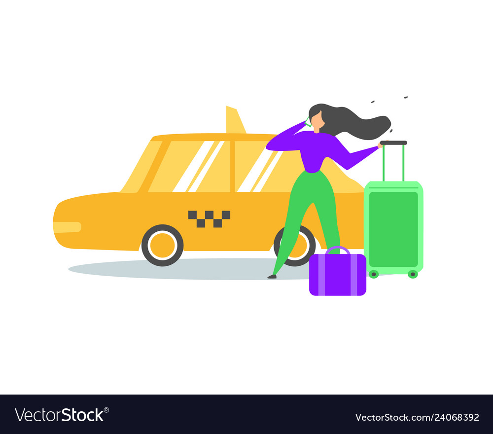 Traveling woman calling taxi service flat