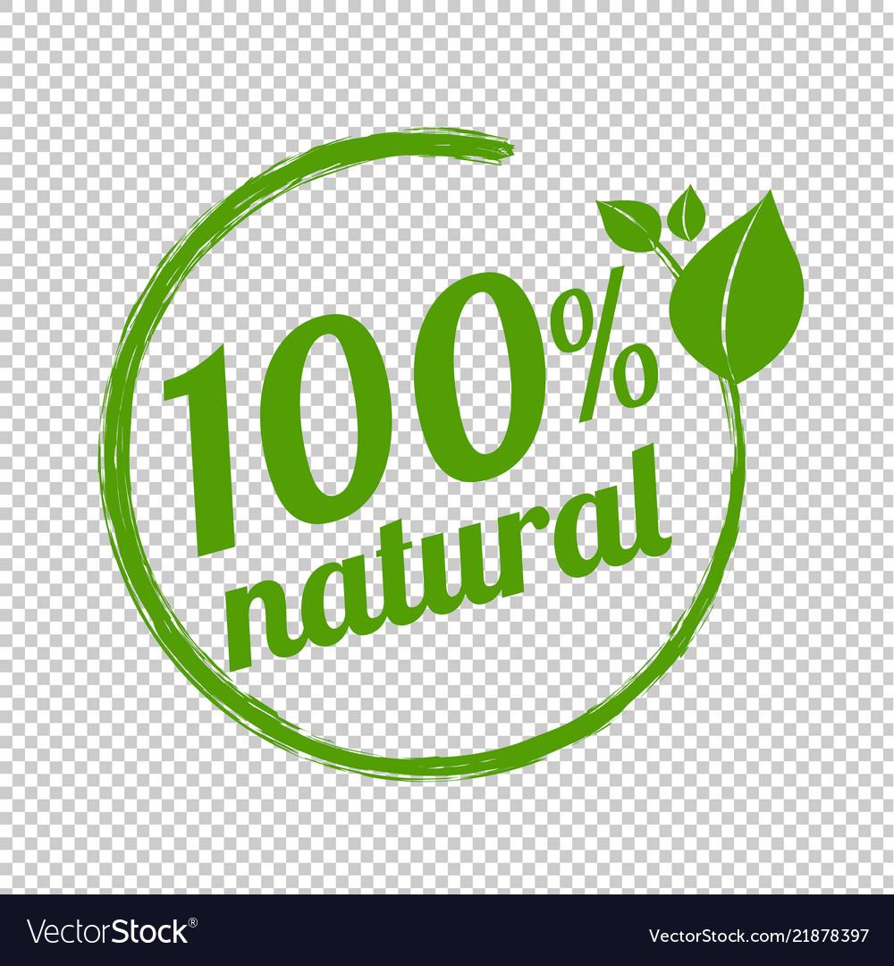 100 Natural Logo Symbol Transparent Background Vector Image