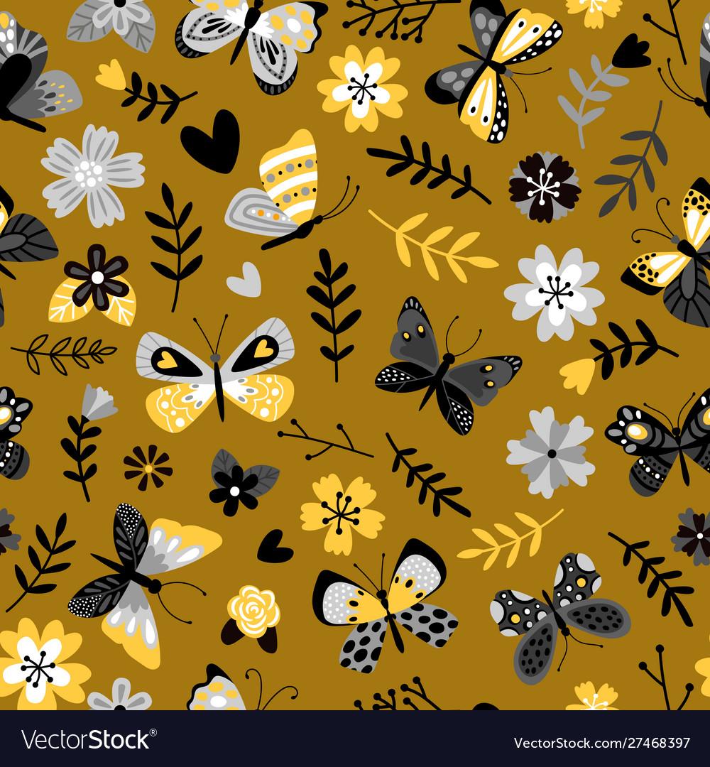 Butterflies and flowers flat seamless