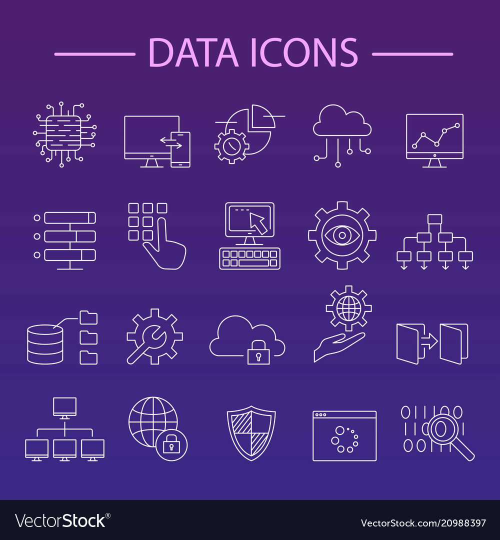 Data icons line set