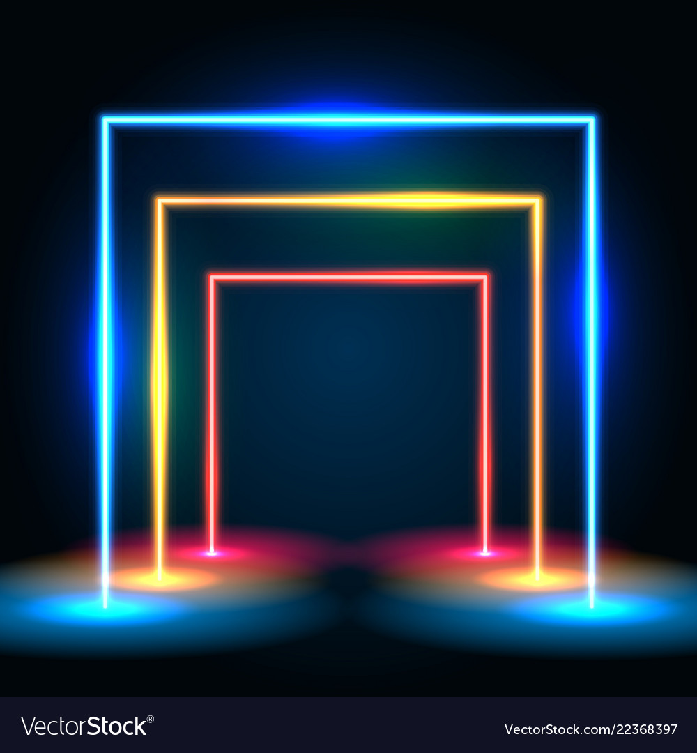 Neon glowing lines tunnel abstract background