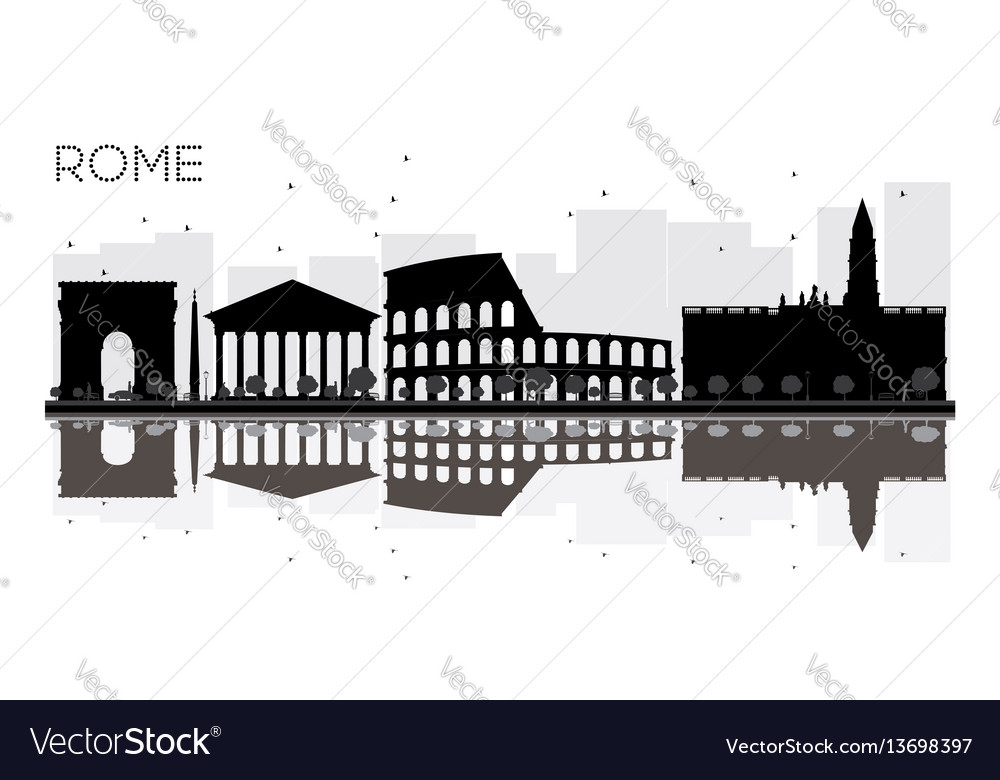 Rome city skyline black and white silhouette with