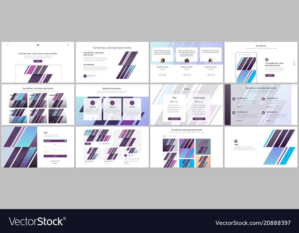Set of templates for website design