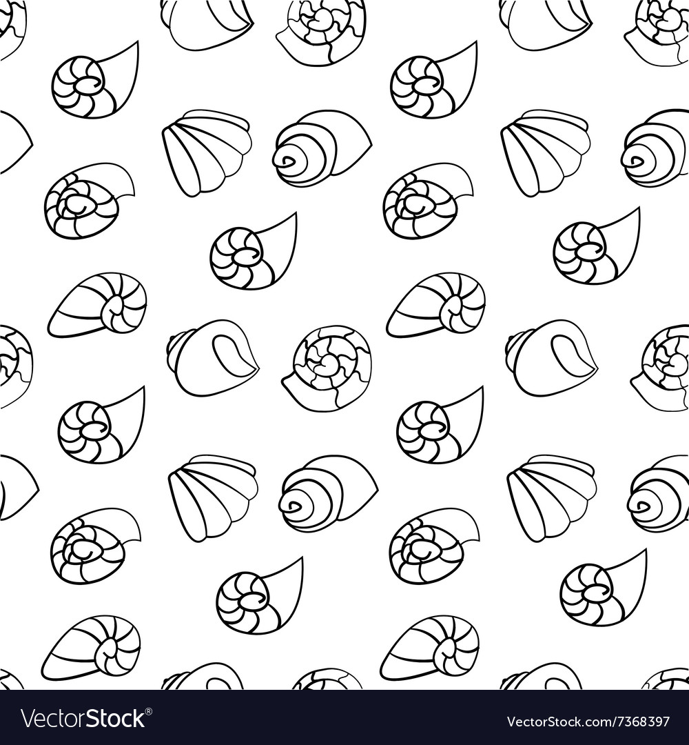 Shell seamless pattern on the white background vector image
