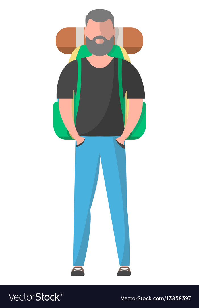Standing hiker with backpack