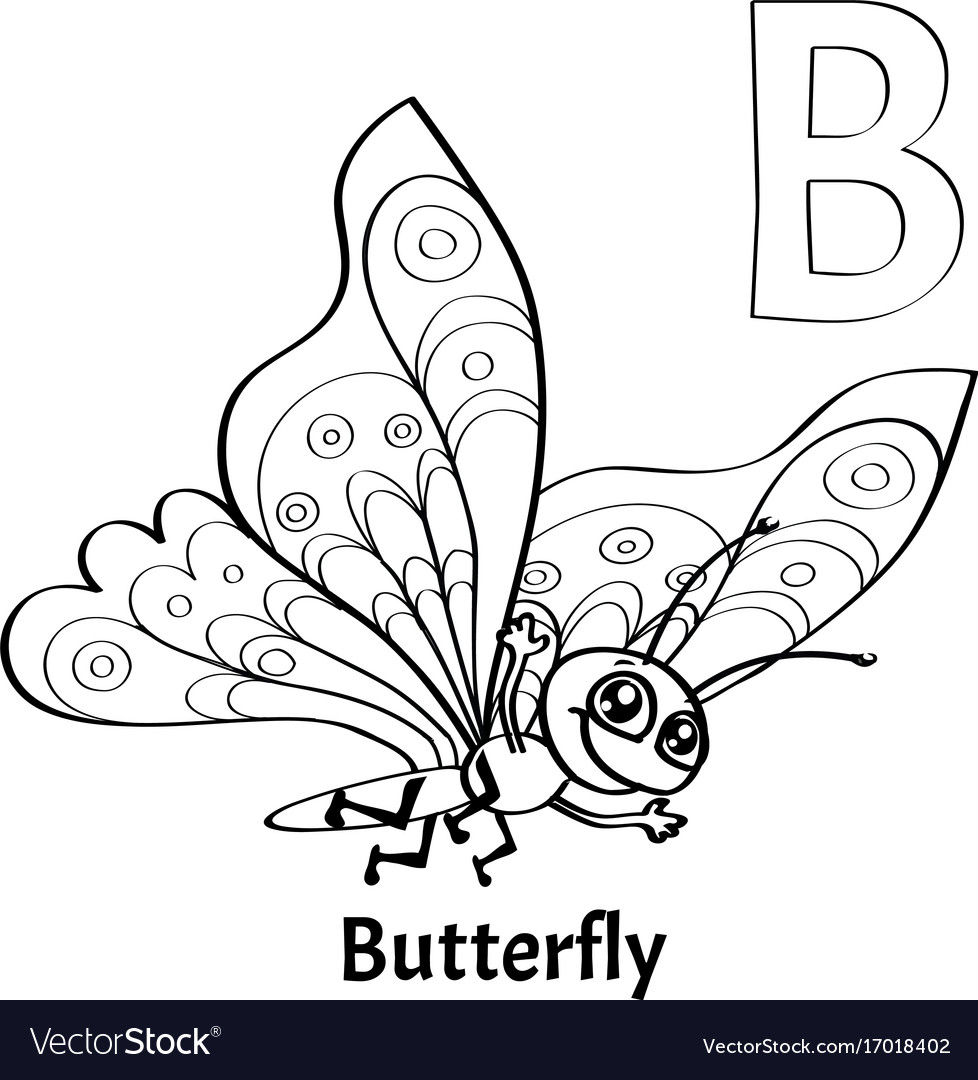 Alphabet Letter B Coloring Page Butterfly Vector Image
