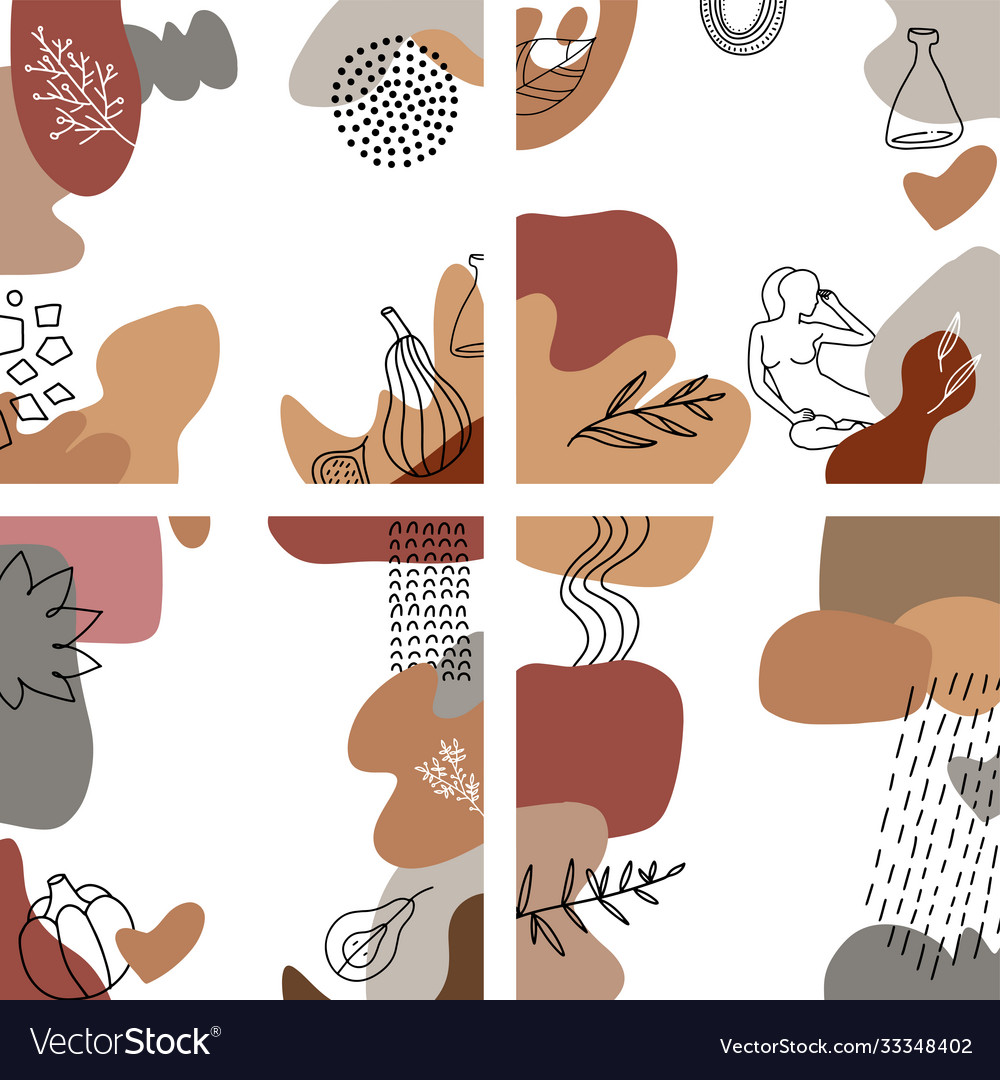 Autumn covers design with abstract shapes and