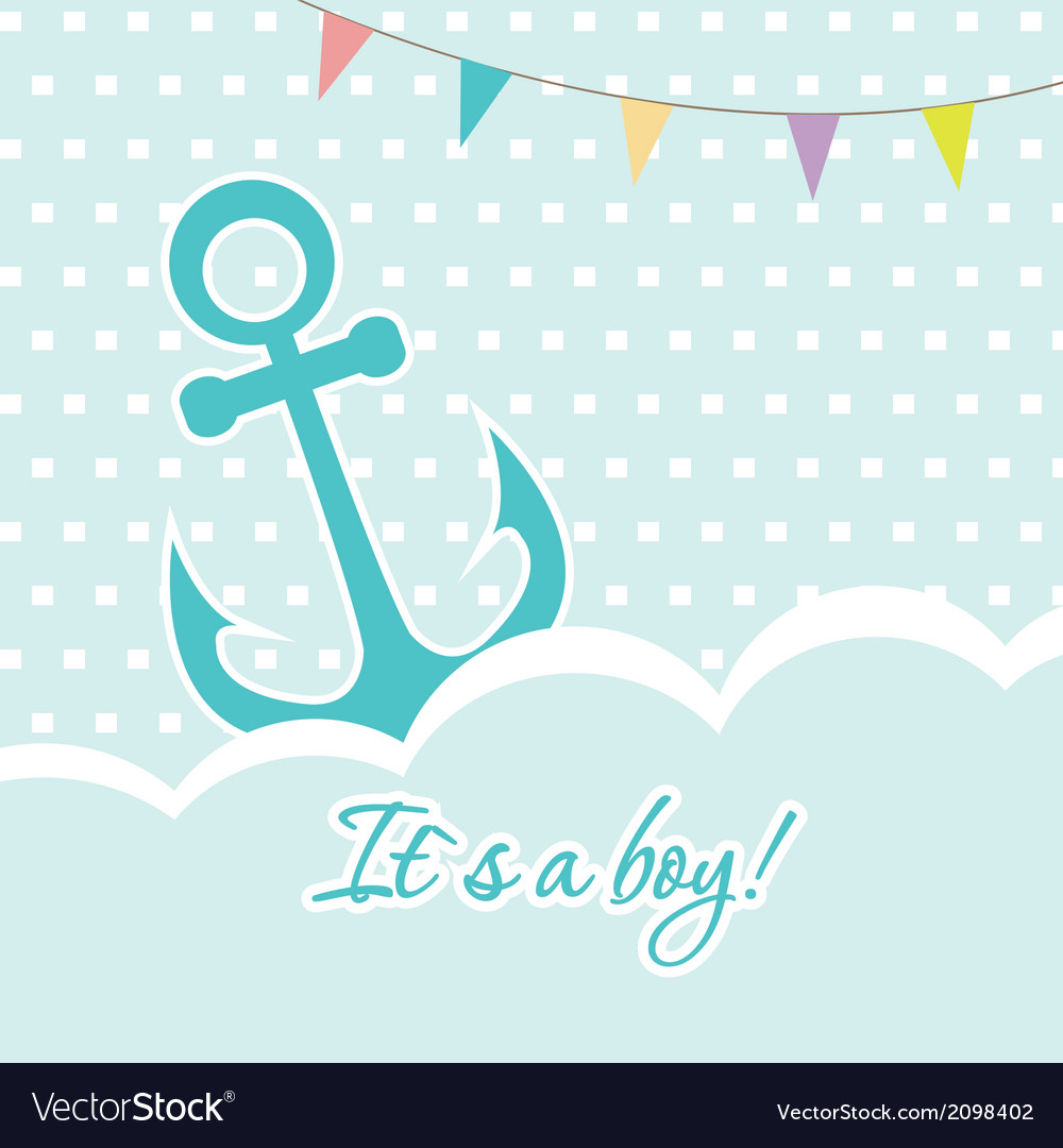 Baby boy shower card with cute anchor on seamless