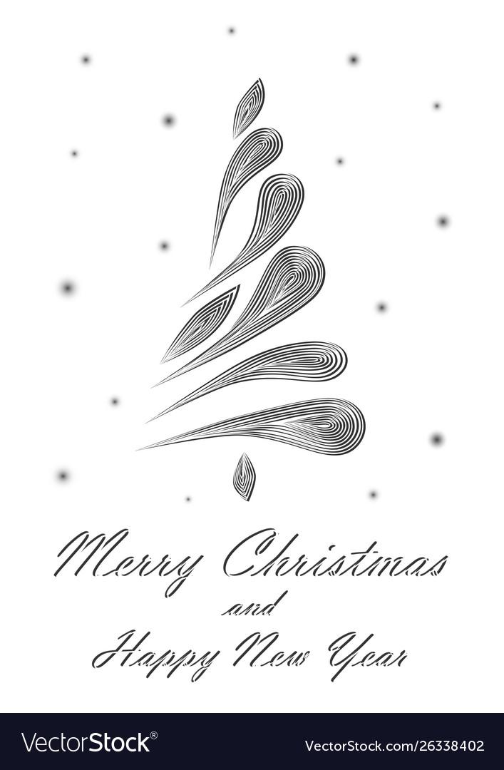 Black elegant christmas tree on white background
