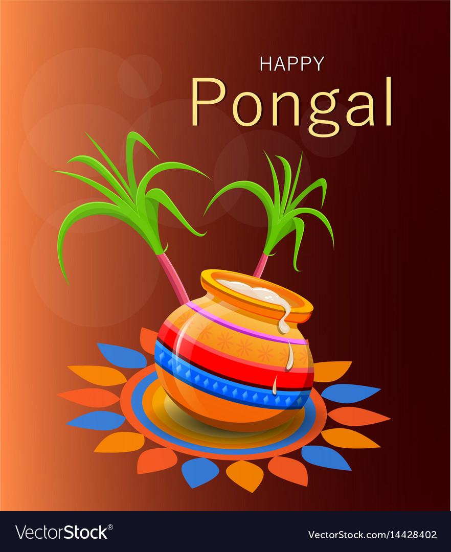 Happy Pongal Greeting Card On Brown Background Vector Image