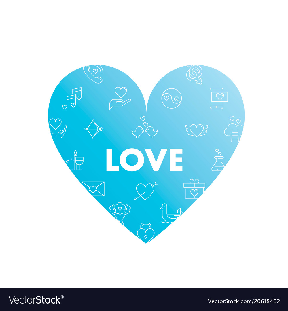 Line icons in heart shape love vector image