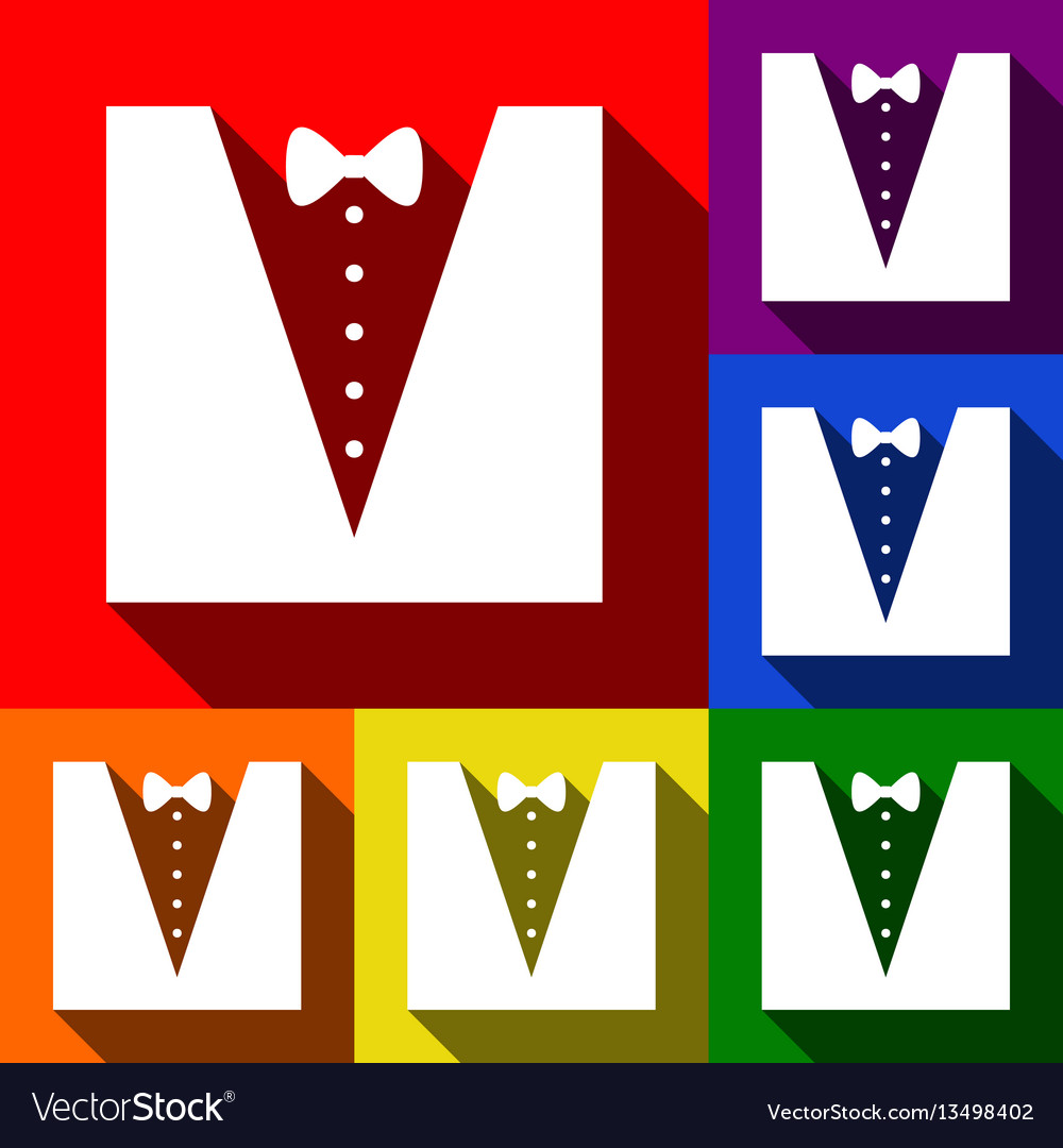 Tuxedo with bow silhouette set of icons