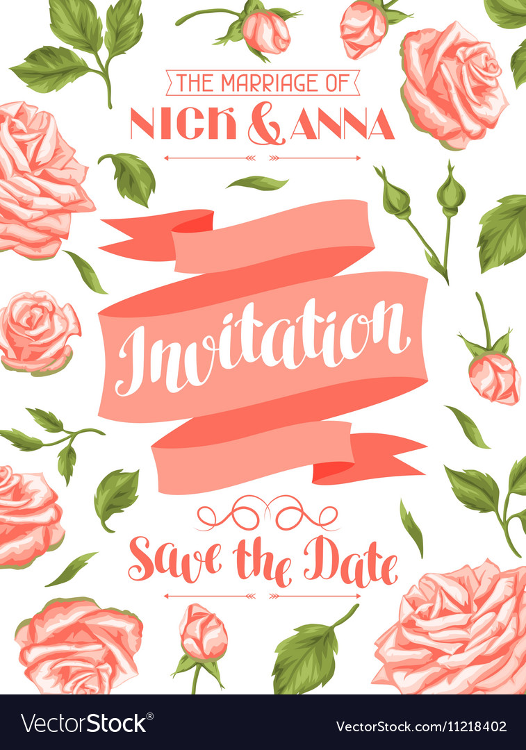 Wedding invitation card template with roses