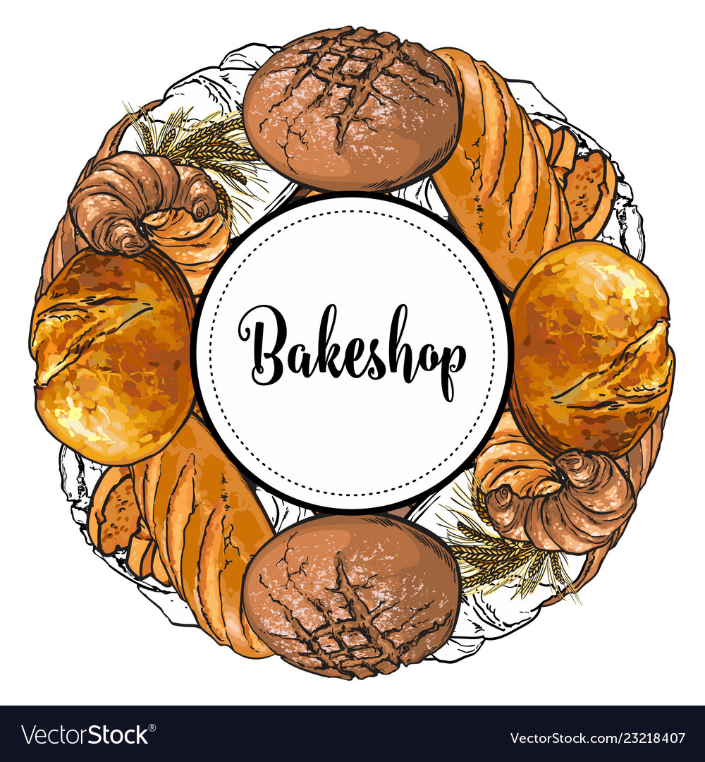 Bakeshop banner with colorful and line freshly