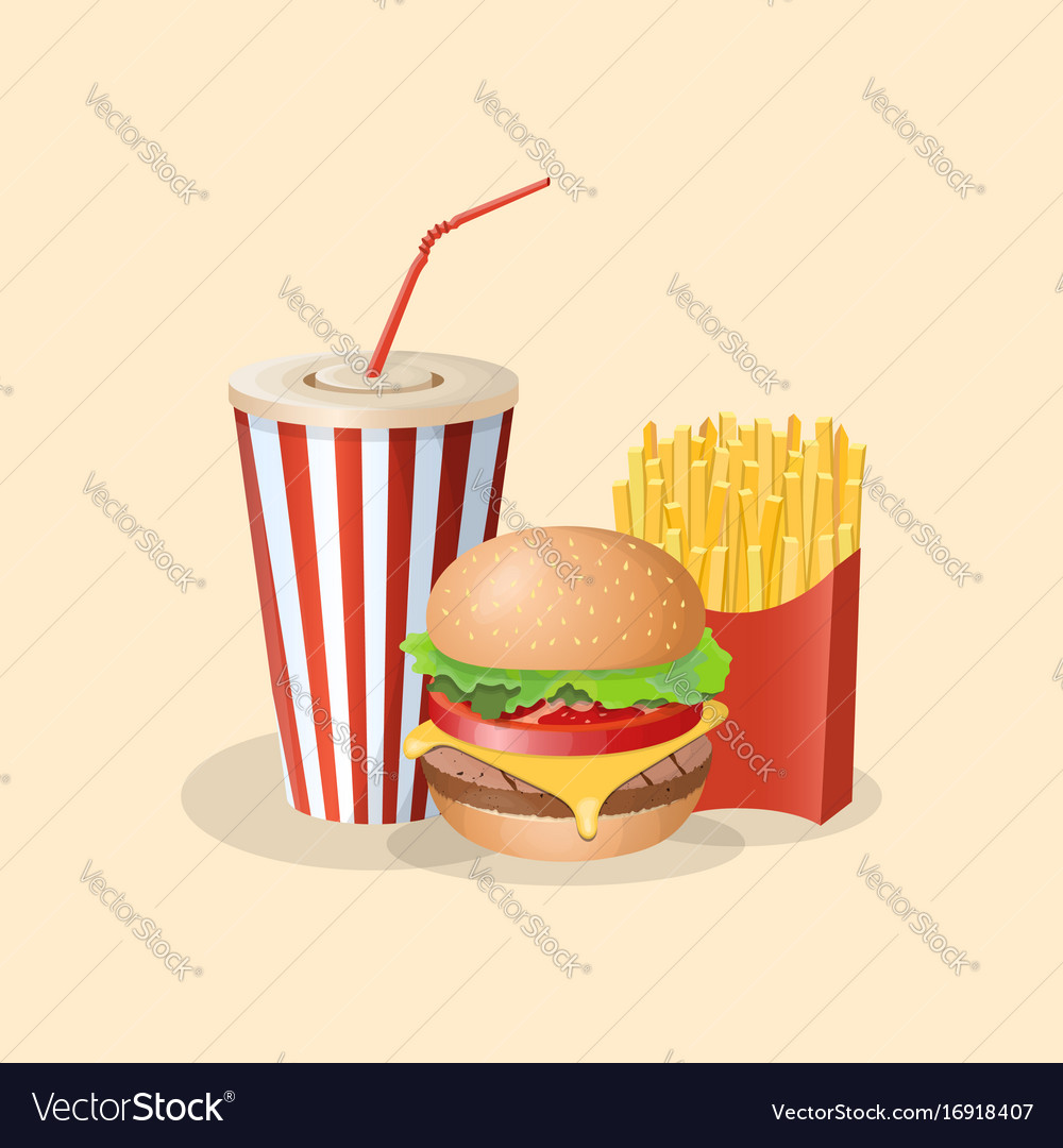 Burger with french fries and soda cup - cute