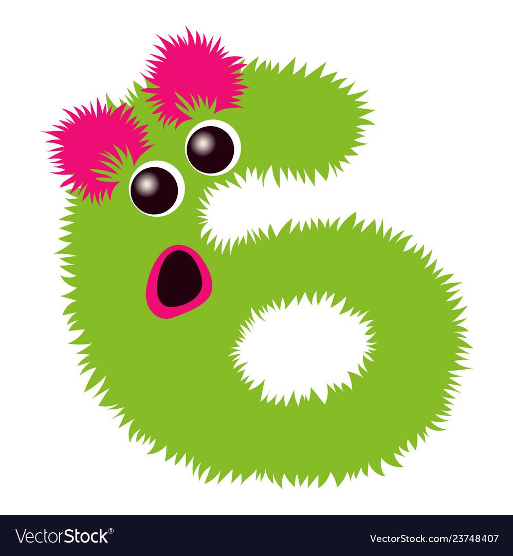 Cartoon cute pinc and green monster number six