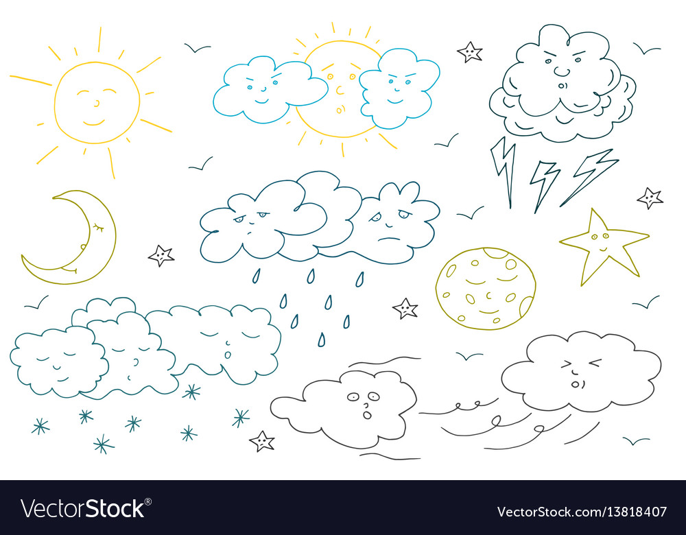 Doodle weather set collection of hand drawn