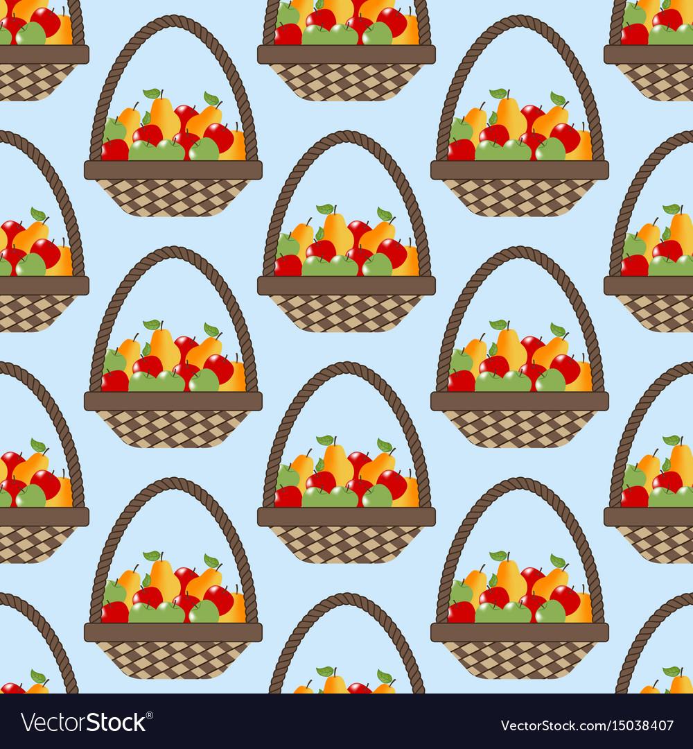 Fruit apple pear basket pattern