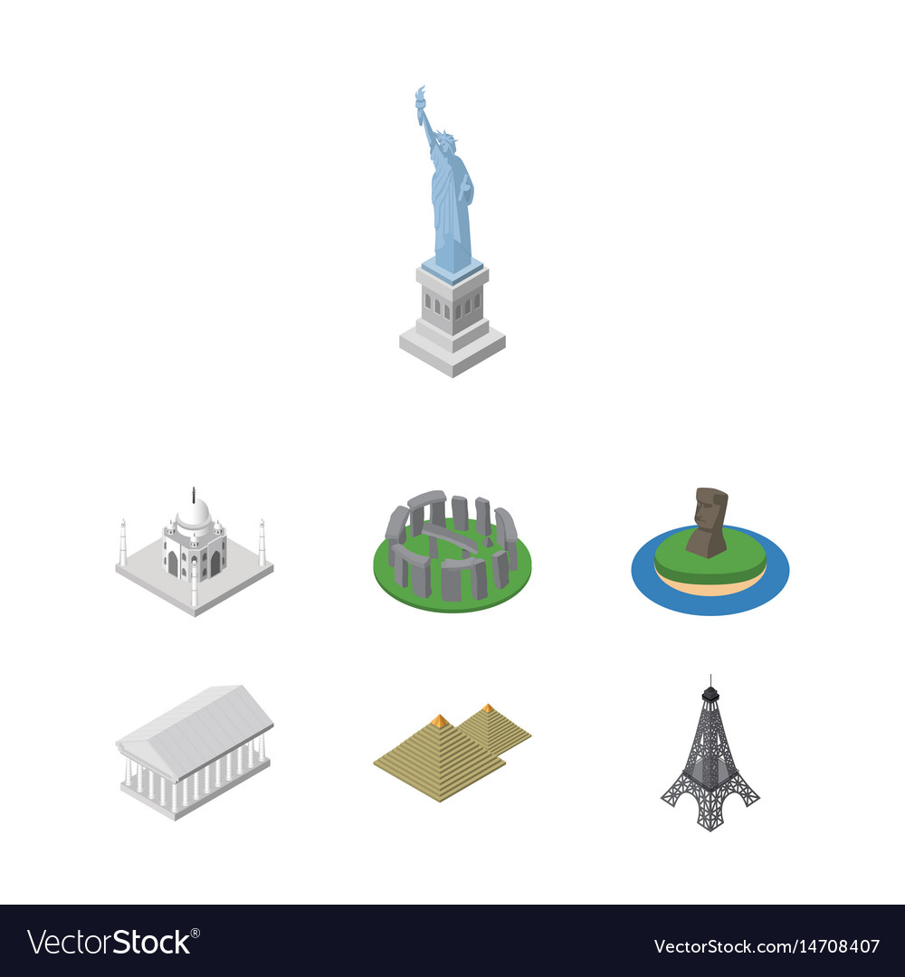 Isometric architecture set of athens new york