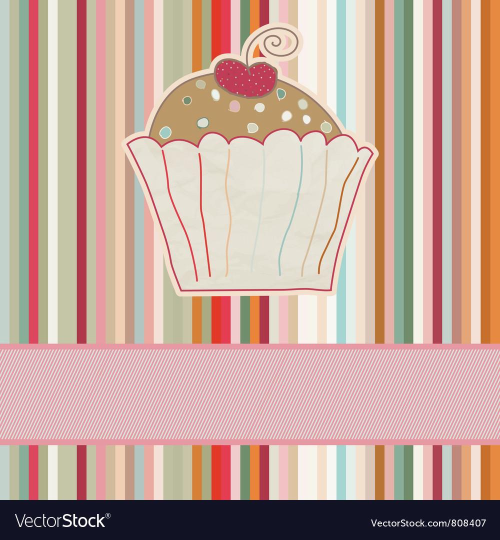 Retro Cupcake Card vector image