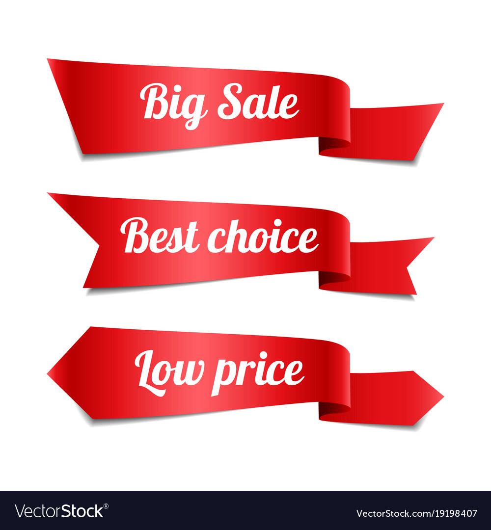 Sale red ribbon banners with text