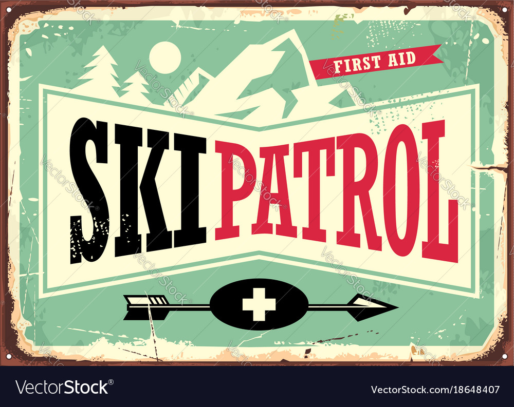 Ski patrol retro sign design with mountain shape
