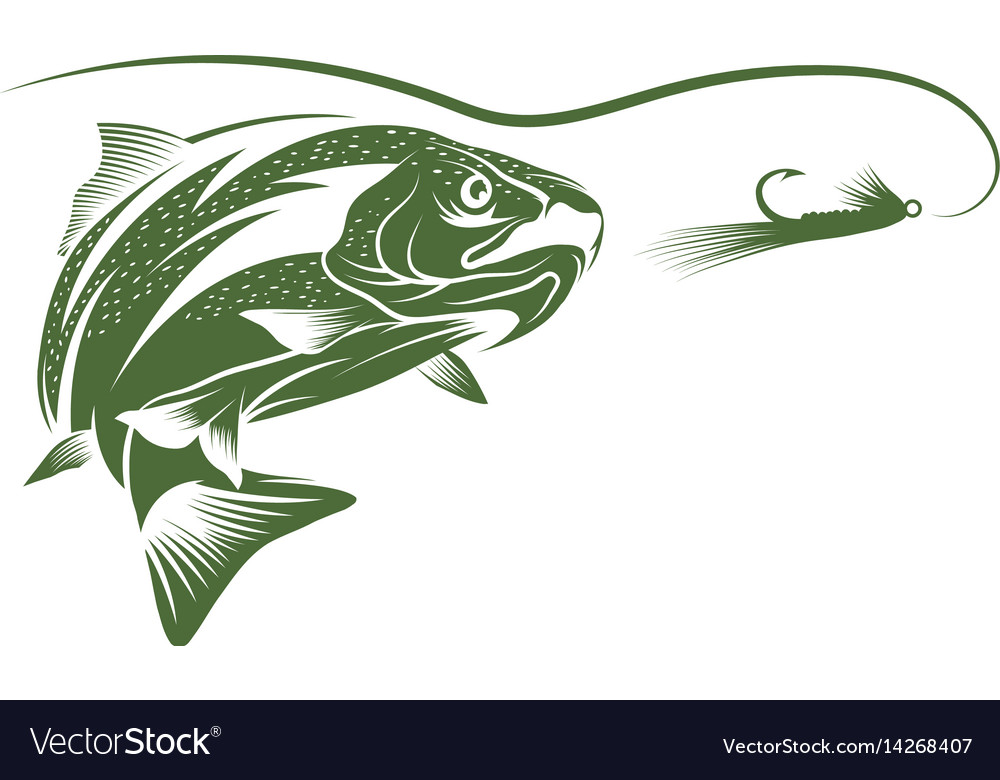 trout fish and lure design template royalty free vector