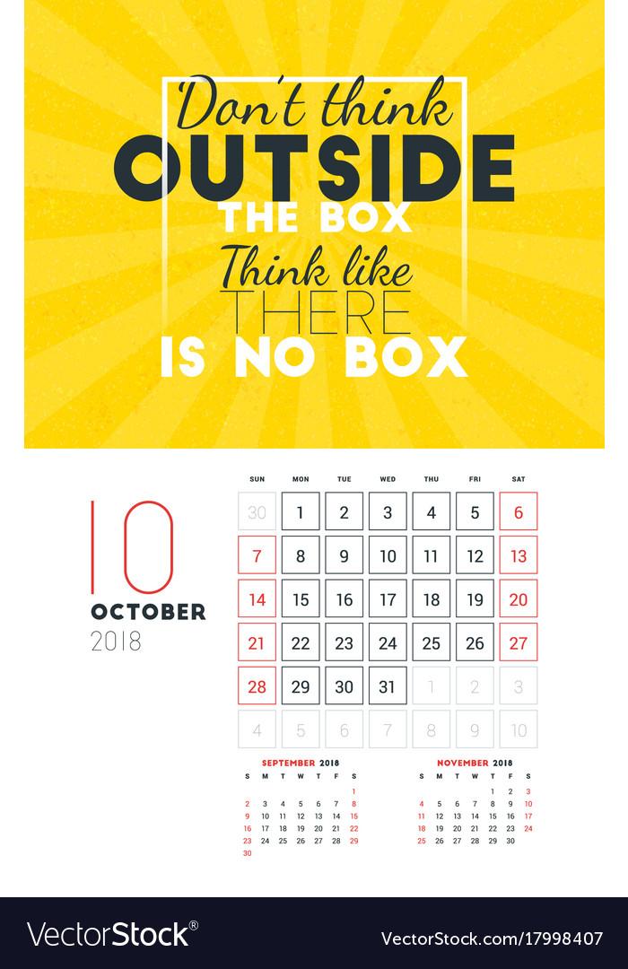 Wall Calendar Template For October 2018 Design Vector Image